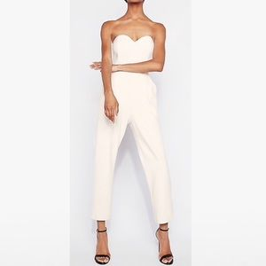 White Strapless Sweetheart Jumpsuit